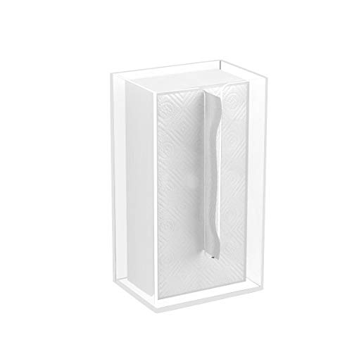 """FEMELI Acrylic Tissue Box Holder Wall Mount for Kitchen Bathroom,Clear,9-1/2""""X 3-3/5""""X 5"""" with 3M Tape"""