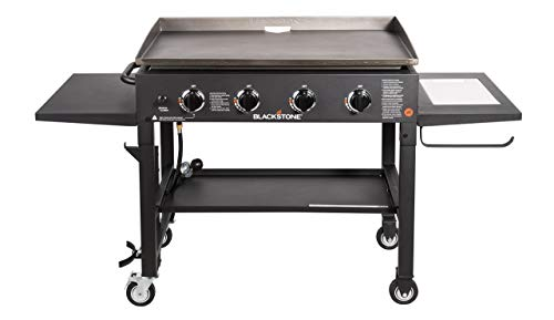 "Blackstone 36"" Cooking Station 4 Burner Propane Fuelled Restaurant Grade Professional 36 Inch Outdoor Flat Top Gas Griddle with Built in Cutting Board, Garbage Holder and Side Shelf (1825), Black"