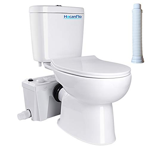 Upflush Macerating Toilet System with 500 Watt Macerator Pump and Extension Pipe Between Toilet and Pump, Silent Seat Cover Elongated Bowl (500W-A)