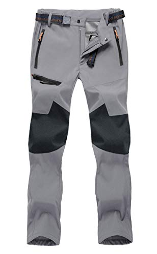 BIYLACLESEN Hiking Pants Mens Tactical Pants Fleece Lined Pants Mens Softshell Pants Warm Pants Cargo Pants Men Ski Pants Men Snowboard Pants
