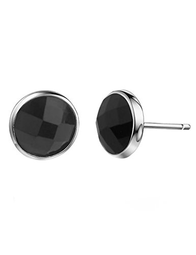 TIKIVILLE Paialco 925 Sterling Silver Half Round Ball Faceted Black Onyx Earring Studs 6MM