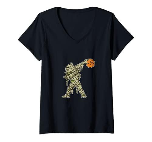Mujer Dabbing Momia Baloncesto Divertido Disfraz De Halloween Camiseta Cuello V