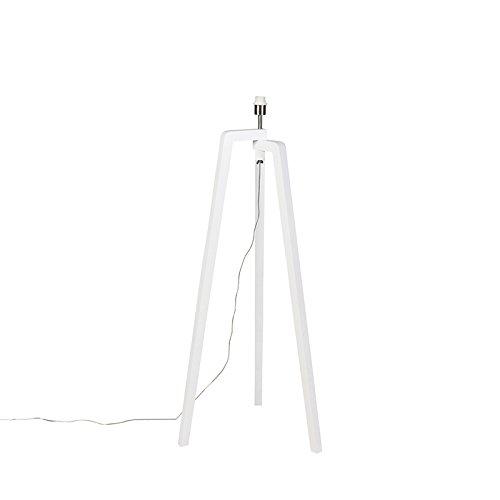 QAZQA Moderne vloerlamp wit zonder kap - Puros Hout Langwerpig Geschikt voor LED Max. 1 x Watt