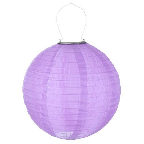 Ahomi 30,5 cm Festival Party Hängelampe Wasserdicht LED Solar Tuch Chinesische Laterne violett