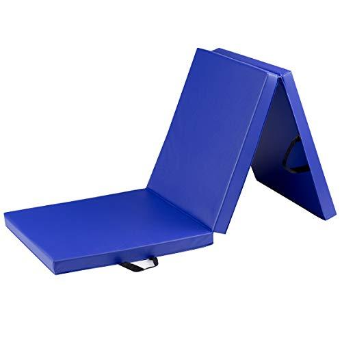 COSTWAY 180 x 60 x 5 cm Weichbodenmatte klappbar, Gymnastikmatte tragbar, Yogamatte wasserabweisend, Turnmatte rutschfest, Klappmatte, Fitnessmatte (blau)