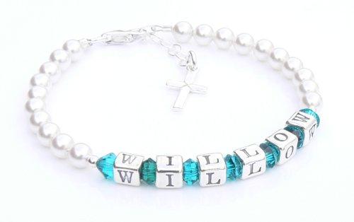 Eerste Heilige Communie Armband - Zilveren Naam Armband - Gepersonaliseerde Doos - Zirkoon Geboortesteen Kristal - Heilige Communie Geschenken