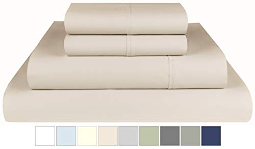 Threadmill Home Linen 800 Thread Count Queen Bed Sheets Set  100% ExtraLong Staple Cotton Sheets for Queen Size Bed with Deep Pocket Luxury 4 Piece Bedding Set Smooth Sateen Weave Beige