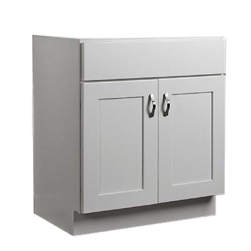 "JSI Dover 42"" White Two Door Single Bathroom Vanity Cabinet w/Solid Wood Frame - Assembled"