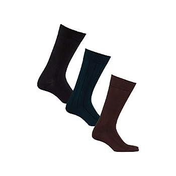 Diabetic Socks for Men by Sugar Free Sox Mid-Calf Ribbed 3 Pairs | Improve Foot Health Comfort Circulation | Seamless Toe | Non-Binding Top  10-13 Black/Navy/Brown