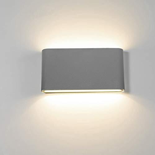 Topmo-plus 12w lámpara de pared LED impermeable IP65 moderno apliques aluminio apliques llevó exterior Arriba y Abajo Diseño Bañadore de vestíbulo 1320LM (Gris/blanco natural)