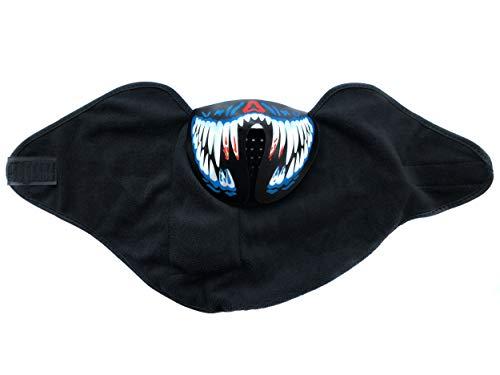 PANAX Mund- Kinnmaske Horror Reißzähne Blau mit coolen geräuschempfindlichen Leuchteffekt - Ideal für Halloween, Fasching/Karneval, Musikfestivals, House und Rave Partys, Snowboard oder Apres Ski