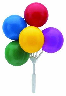 Primary Colors Multi Balloon Bouquet Cluster Cake Topper Decorative Picks - 3 Count