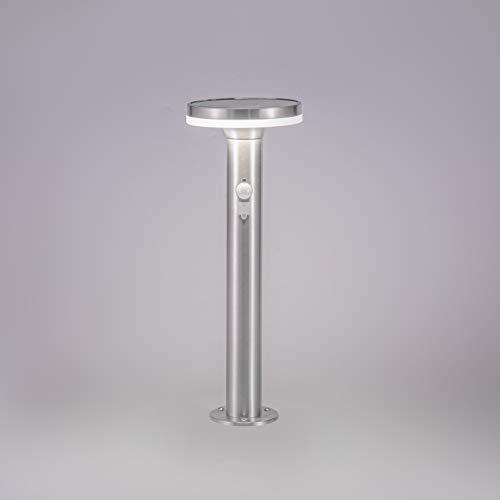 NBHANYUAN Lighting® Solar LED Pfostenlichter mit Bewegungsmelder 45cm Standleuchte USB Wiederaufladbar 3 Modi in dimmbarem Silber Edelstahl 4000K Warm Licht für Pfad Terasse Garten 600LM(mit PIR)