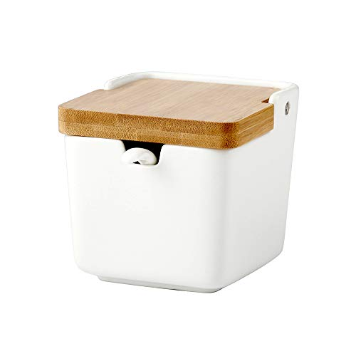 Ceramica Zuccheriera con coperchio e cucchiaio, Barattolo di zucchero bianco Scatola di condimento per casa e cucina Regalo di inaugurazione della casa 8.4 OZ (250 ML)