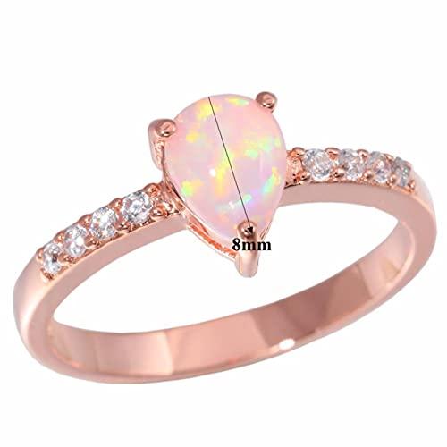 SALAN Creado Pink Fire Opal Cubic Zirconia Color Oro Rosa para Mujer Joyería Anillo