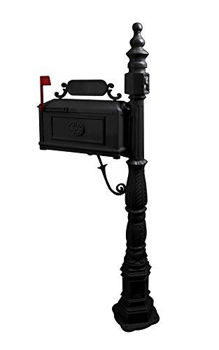 Heavy Duty Mailbox Classic Decorative Cast Aluminum Mail Box Postal Vertical Pedestal (Black)