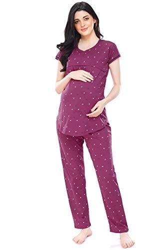 ZEYO Women's Cotton PlumRed Maternity Feeding Night Suit Heart Print Nursing Night Dress