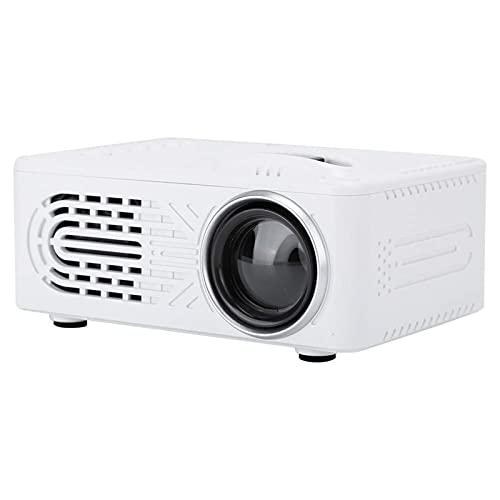 Kettles Mini proyector 1080P HD LED proyector portátil con AV/USB/HDMI/ 3.5MM Interfaz Incorporado en el Altavoz para el Cine en casa al Aire Libre Partido de la película (Color : White)