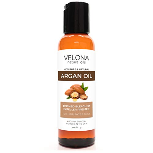 Argan Oil by Velona - 2 oz   100% Pure and Natural Carrier Oil   Refined, Expeller Pressed   Skin, Hair, Body & Face Moisturizing   Use Today - Enjoy Results