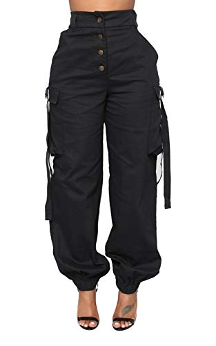 Vakkest Women's Outdoor Elastic High Waisted Cargo Pant Baggy Jogger Pants with Pockets Button Down