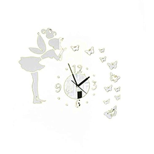 Gankmachine DIY 3D Mariposas Hada Chica Etiqueta de la Pared Espejo Relojes de Pared Oficina...