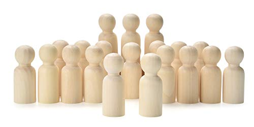 VABNEER Figuren Holzfiguren 20 Stück 65mm Holzfiguren Dekoration Kleine Holzfiguren zum DIY Holzfiguren Hochzeit Geburtstag Dekoration Bemalen Basteln Holz