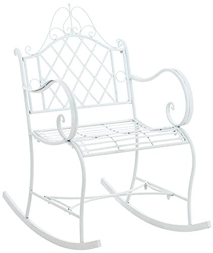 CLP Schaukelstuhl Ansan Aus Eisen I Schwingstuhl Mit Hoher Rückenlehne I Verzierter Schwingsessel, Farbe:weiß