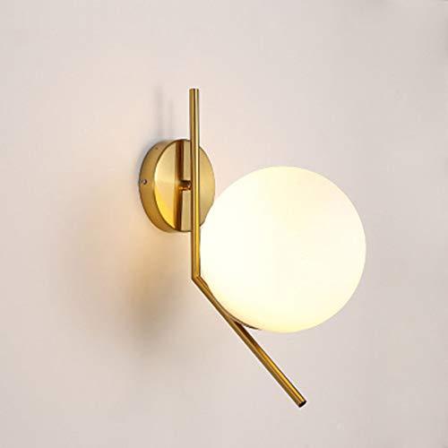 JminJC Lámpara De Pared Moderna Bola De Cristal Personalidad Moda Creativa Sala De Estar Dormitorio Balcón Pasillo Pasillo Lámpara De Pared De Hierro Forjado Color: Blanco