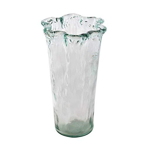 ZXL vierkante glazen bloemenvaas, fles creatief glas voor droge bloemen, hydrocultuur plant, ornamenten voor woonkamer vensterbank woonaccessoires, waterblauw 26 cm / 35 cm (maat: L)