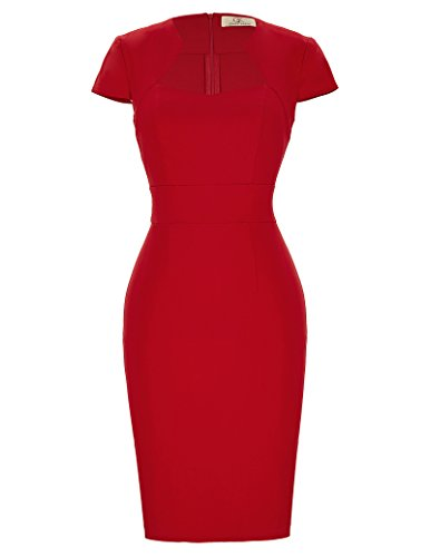 GRACE KARIN Etuikleider rot Damen Pencil Kleid Baumwolle Bodycon midi Rockabilly Kleid Retro Vintage Kleid CL8947-2 XL