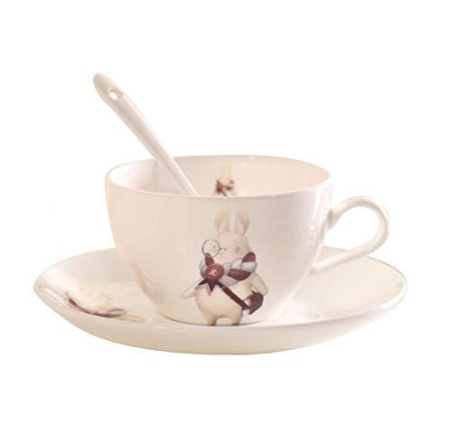 FEJK Niedliche China Keramik Tasse Untertasse Set Nachmittagstee Blume Tee Kaffeetasse Teller Löffel Knochen Porzellan Tasse Set 240ml