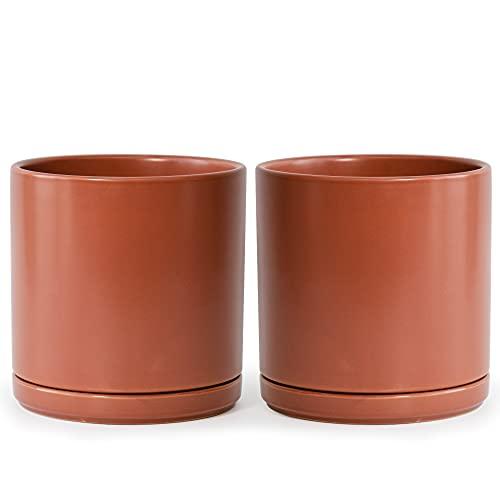 Set of 2 Plants Pot, 10 Inch Ceramic Planter Pot for Plants with...