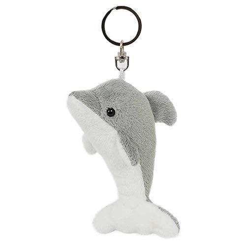 Schlüsselanhänger Delfin grau, aus Plüsch, Tier Tiere, Delfine Fische