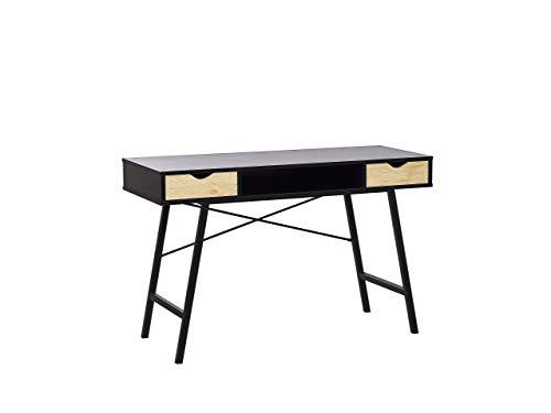 Escritorio negro/madera clara, 120 x 48 cm, 2 cajones Clarita