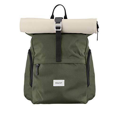 KRACHT Rucksack Damen & Herren – mit Laptopfach und wasserdicht – Olive/beige