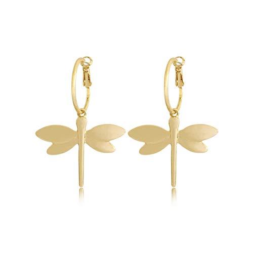 QIN 2021 Pendientes Colgantes con Colgante de libélula de Color Dorado Mujer, niña, joyería Informal de Moda para Fiestas