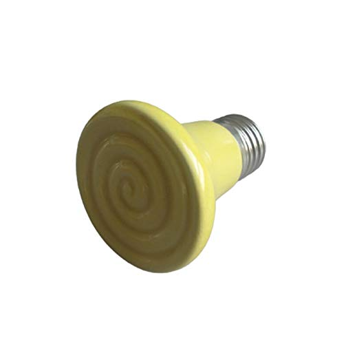 EUYBDZSW Keramische Heizlampe Mini-Reptil-Keramik-Infrarot-Hitzeemitter, 50/75/100/150 / 200W Infrarot-Birne, für Reptilien-Haustier-Coop und Glas-Terrarium (Color : Yellow, Size : 50W)