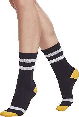 Urban Classics Herren Multicolor 2-Pack Socken, Mehrfarbig (Blk/Wht/Chromeyellow 01423), 43-46 (2er Pack)