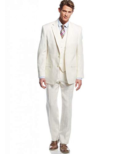 Retro White Linen Suit for Men Casual Wedding Suit for Men Seersucker Suit Slim Fit 3 Pieces Jacket Blazer Groom Tuxeo