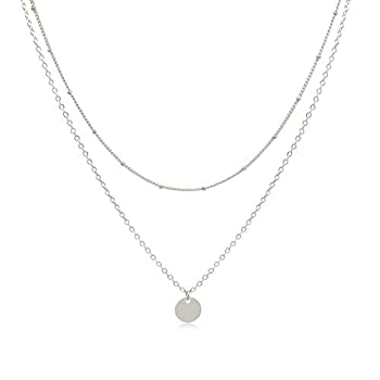 Dainty Layered Silver Coin Choker Necklace Handmade Disc Pendant Chic Layering Necklace for Women Girls