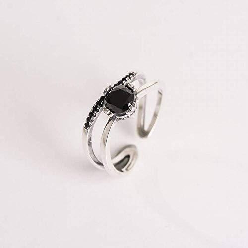 ZLININ Y-longhair Women's Simple 925 Silver Geometric Diamond S925 Sterling Silver Ring Double Black Diamond Open Single Ring Female Adjustable Ring Versatile