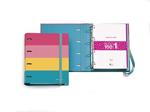 Miquelrius Carpebloc - Diseño Bright, Carpeta Archivador con 4 Anillas + Recambio 100 Hojas A4 con Cuadrícula 5 mm, Papel 70 g