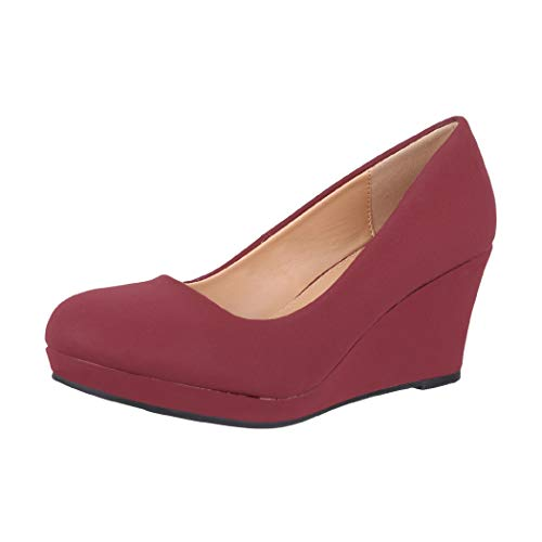 Elara Damen Pumps Keilabsatz Schuhe mit Plateau Chunkyrayan B8011 Wine-40