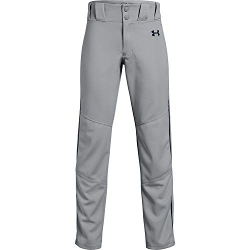 Under Armour Boys' Utility Relaxed Piped Baseball Pants, Baseball Gray (082)/Midnight Navy, Youth Medium