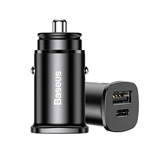 Carregador Veicular Baseus USB e Tipo C Super Turbo 30W Celular Universal