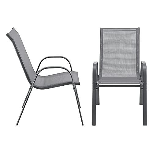 [en.casa] Gartenstuhl 2er Set Outdoor-Stuhl 90x54x70cm Stuhl Wetterfest Stapelbar PVC Polyester Hellgrau