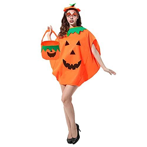 Funnlot Halloween Pumpkin Costume Adult Women Pumpkin Halloween Costumes Halloween Pumpkin Fancy Dress Pimpkin Outfit with Hat Pumpkin Bag Pumpkin Glasses for Halloween Adult Pumpkin Costume