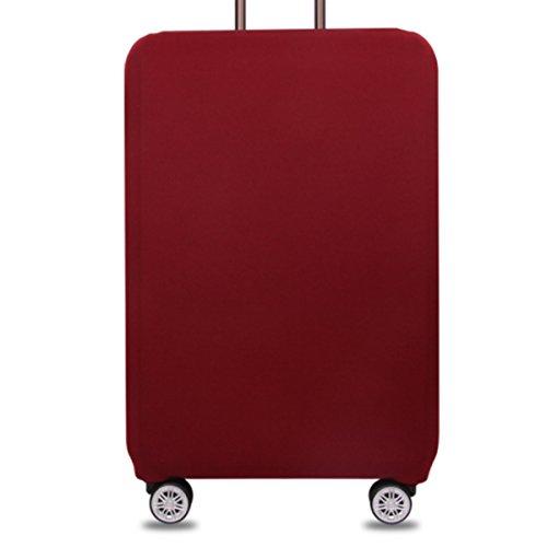 YianBestja Elastisch und Einfarbig Kofferhülle Koffer Abdeckung Schutzhülle Kofferschutzhülle Kofferbezug Luggage Gepäck Cover mit Band und Klettverschluss (Weinrot, XL (29-32 Zoll))