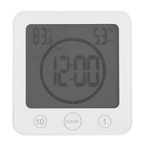 eecoo Digital Badezimmer Dusche Wanduhr, wasserdichte Badezimmer Timer Wanduhr Digital LCD Thermometer Hygrometer Saugnapf(Weiß)