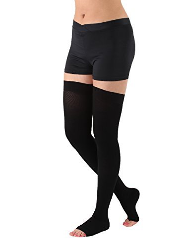 Absolute Support Thigh High Compression Stockings Silicone Border, Black – 3XL